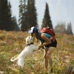 girl hiking with dog